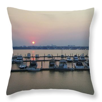 Throw Pillow featuring the photograph River Sunset by Michael Waters