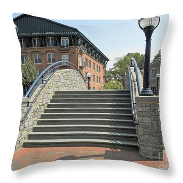 River Walk Bridge In Frederick Maryland Throw Pillow