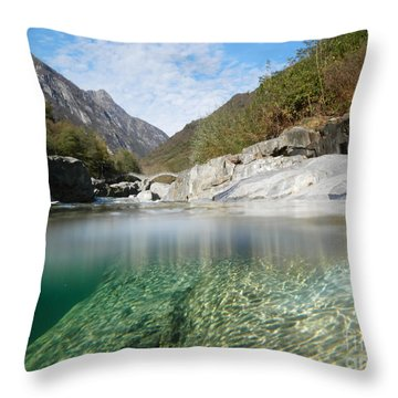 River With A Roman Bridge Throw Pillow by Mats Silvan