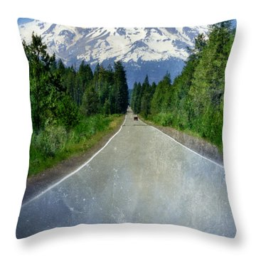 Road Leading To Snow Covered Mount Shasta Throw Pillow by Jill Battaglia