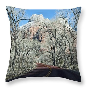 Throw Pillow featuring the photograph Road Through Zion Canyon by Bob and Nancy Kendrick