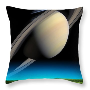 Road To Saturn Throw Pillow by Larry Landolfi and Photo Researchers