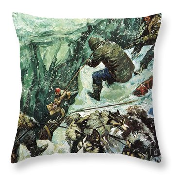 Roald Amundsen's Journey To The South Pole Throw Pillow by Luis Arcas Brauner