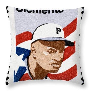 Roberto Clemente Throw Pillow by Granger