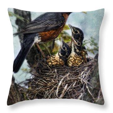 Robin And Babies In Nest Throw Pillow by Jill Battaglia