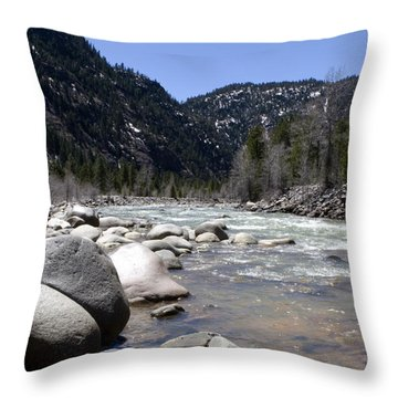 Throw Pillow featuring the photograph Rock In The River by Lorraine Devon Wilke
