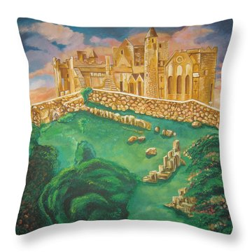 Rock Of Cashel-ireland Throw Pillow by John Keaton