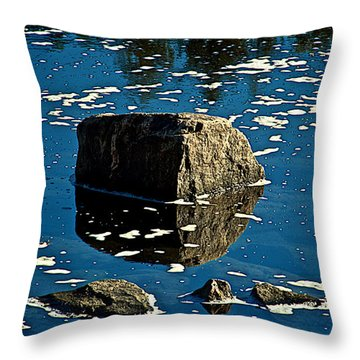 Rock Reflection In Blue Water Throw Pillow by Andre Faubert