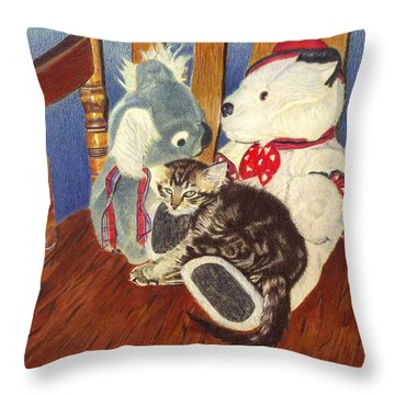 Rocking With Friends - Kitten And Stuffed Animals Painting Throw Pillow by Patricia Barmatz