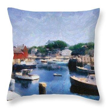 Rockport Maine Harbor Throw Pillow