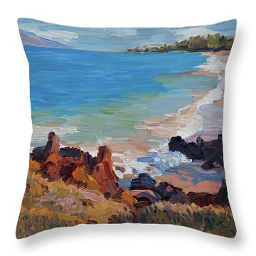 Rocks At Maui Beach Throw Pillow