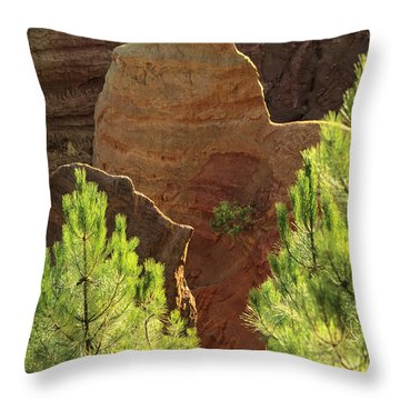 Rocks. Ochre.  Roussillon. Luberon. France. Europe Throw Pillow by Bernard Jaubert