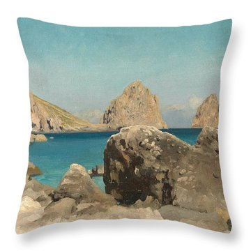 Rocks Of The Sirens Throw Pillow by Frederic Leighton