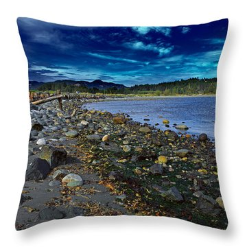 Rocky Beach In Western Canada Throw Pillow by Louise Heusinkveld