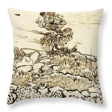 Rocky Ground At Montmajour Throw Pillow by Vincent van Gogh