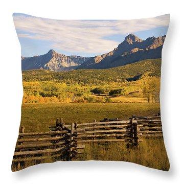 Rocky Mountain Ranch Throw Pillow by Steve Stuller