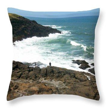 Rocky Ocean Coast Throw Pillow