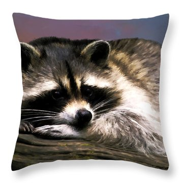 Rocky Raccoon Throw Pillow