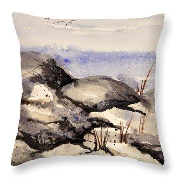 Rocky Shore Throw Pillow by Kristine Plum