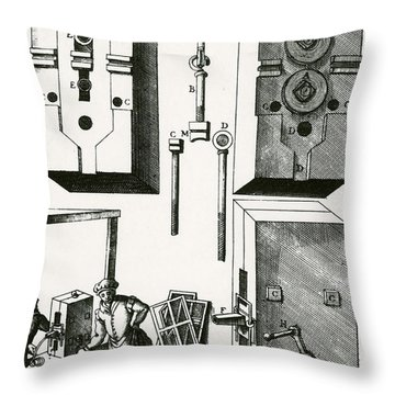 Rolling Mill For Lead Strips Throw Pillow by Photo Researchers