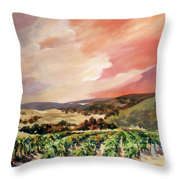 Rolling Vineyards 2 Throw Pillow by Rae Andrews