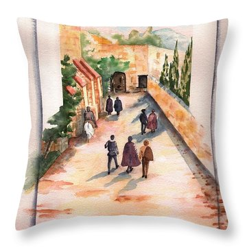 Throw Pillow featuring the painting Roman Avenue by Sharon Mick