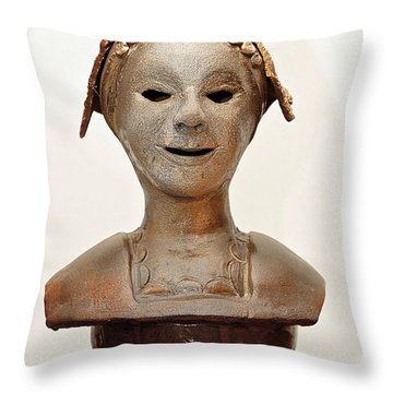 Roman Mask Torso Lady With Head Cover Face Eyes Large Nose Mouth Shoulders Throw Pillow