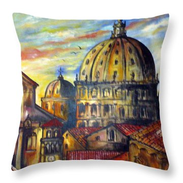 Throw Pillow featuring the painting Roman Roofs by Roberto Gagliardi