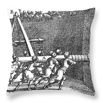Roman Soldiers Attacking Fortress  Throw Pillow by Photo Researchers