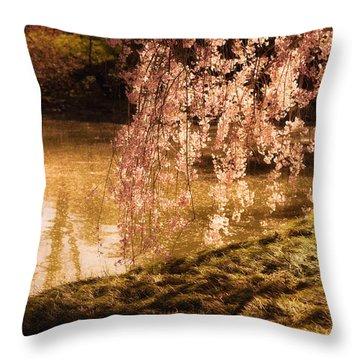 Romance - Sunlight Through Cherry Blossoms Throw Pillow by Vivienne Gucwa