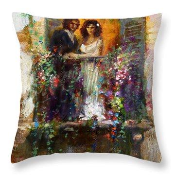 Romance In Venice  Fragment Balcony Throw Pillow