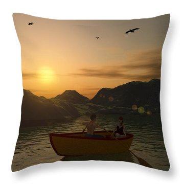 Romance On The Lake Throw Pillow