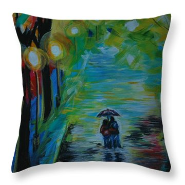 Throw Pillow featuring the painting Romantic Stroll Series 1 by Leslie Allen