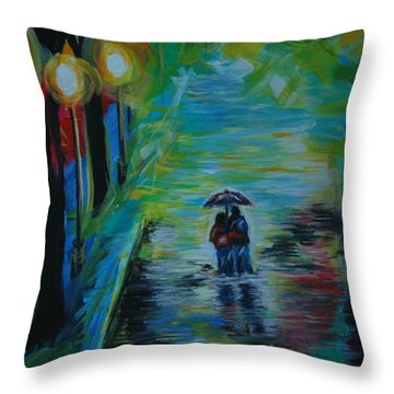 Throw Pillow featuring the painting Romantic Stroll Series II by Leslie Allen