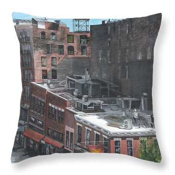Roof Tops Ny Ny Throw Pillow by Stuart B Yaeger