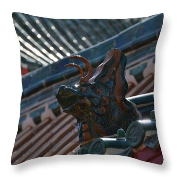 Rooftop Dragon Throw Pillow