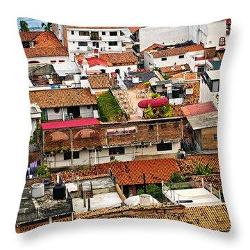 Rooftops In Puerto Vallarta Mexico Throw Pillow by Elena Elisseeva