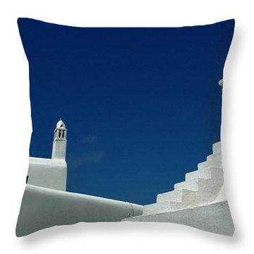 Rooftops Of Mykonos Throw Pillow by Vivian Christopher