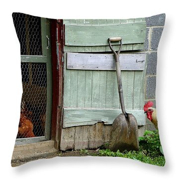 Rooster And Hens Throw Pillow by Lisa Phillips
