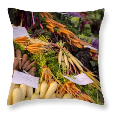 Root Vegetables At The Market Throw Pillow by Heather Applegate