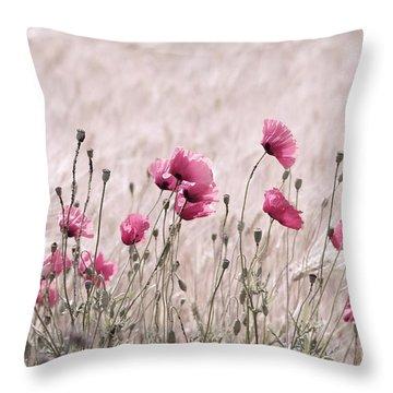 Pink Poppy Field  Throw Pillow