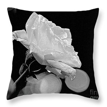Throw Pillow featuring the photograph Rose - Black And White by Luana K Perez