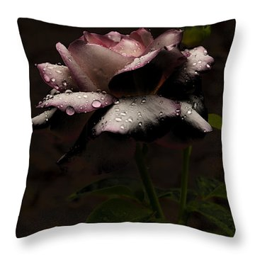 Rose After Dark Throw Pillow