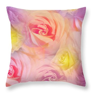 Rose Bouquet Throw Pillow by Cindy Lee Longhini