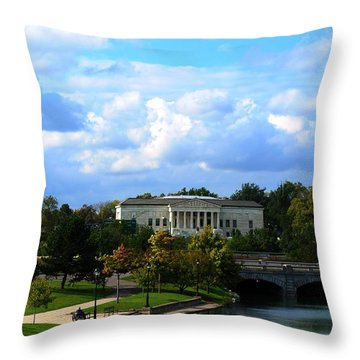 Throw Pillow featuring the photograph Rose Garden And Hoyt Lake by Michael Frank Jr