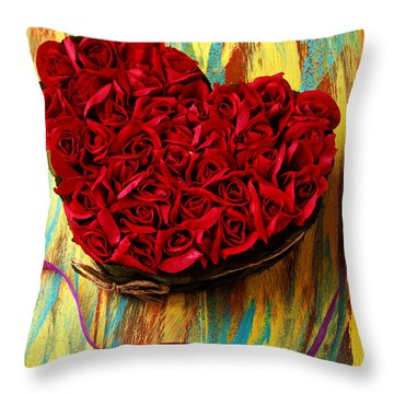 Rose Heart And Ribbon Throw Pillow by Garry Gay