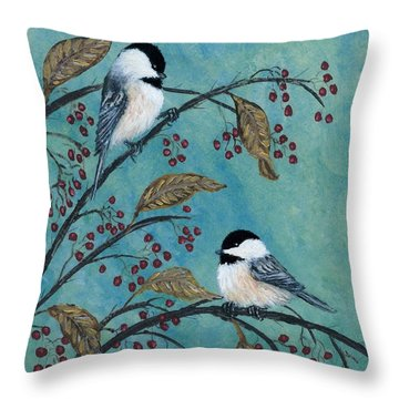 Throw Pillow featuring the painting Rose Hip Chickadees by Kathleen McDermott