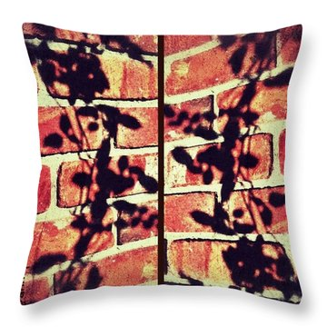 Rose Leaves - Shadow On Brick Throw Pillow