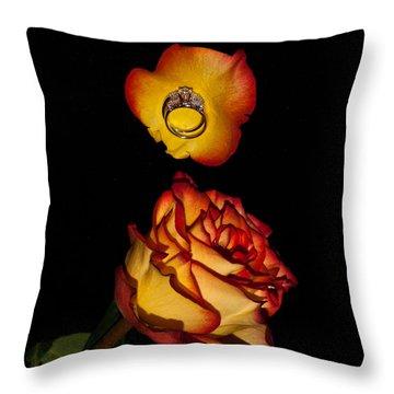 Rose Petals And Wedding Rings 1 Throw Pillow by Douglas Barnett