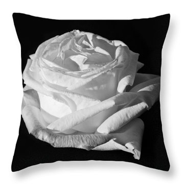Throw Pillow featuring the photograph Rose Silver Anniversary Monochrome by Steve Purnell